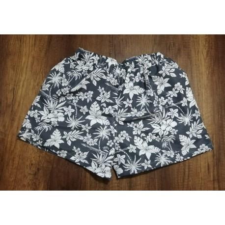 Pantaloneta hawaiana gris con flores