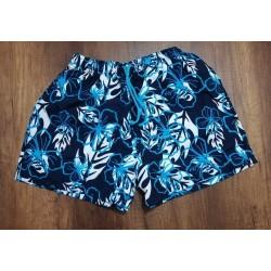 Pantaloneta hawaiana azul oscura con flores
