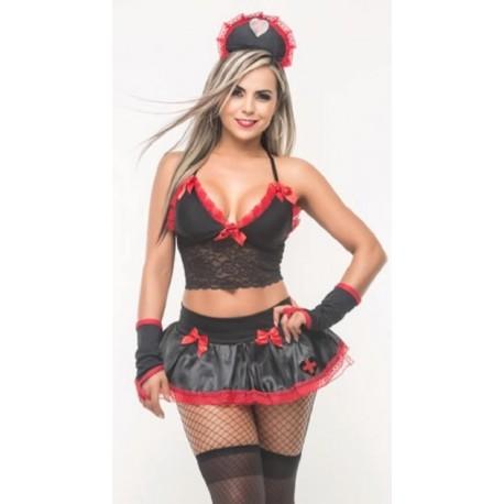 Disfraz de enfermera negro con falda