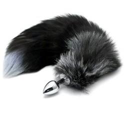 Plug anal metalico con cola de zorro blanco 50 cm