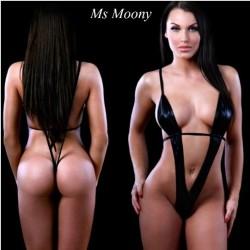 Sexy body negro cuero sintetico