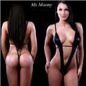 Sexy body delgado negro cuero sintetico