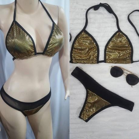 Bikini dorado con negro tanga semi brasilera